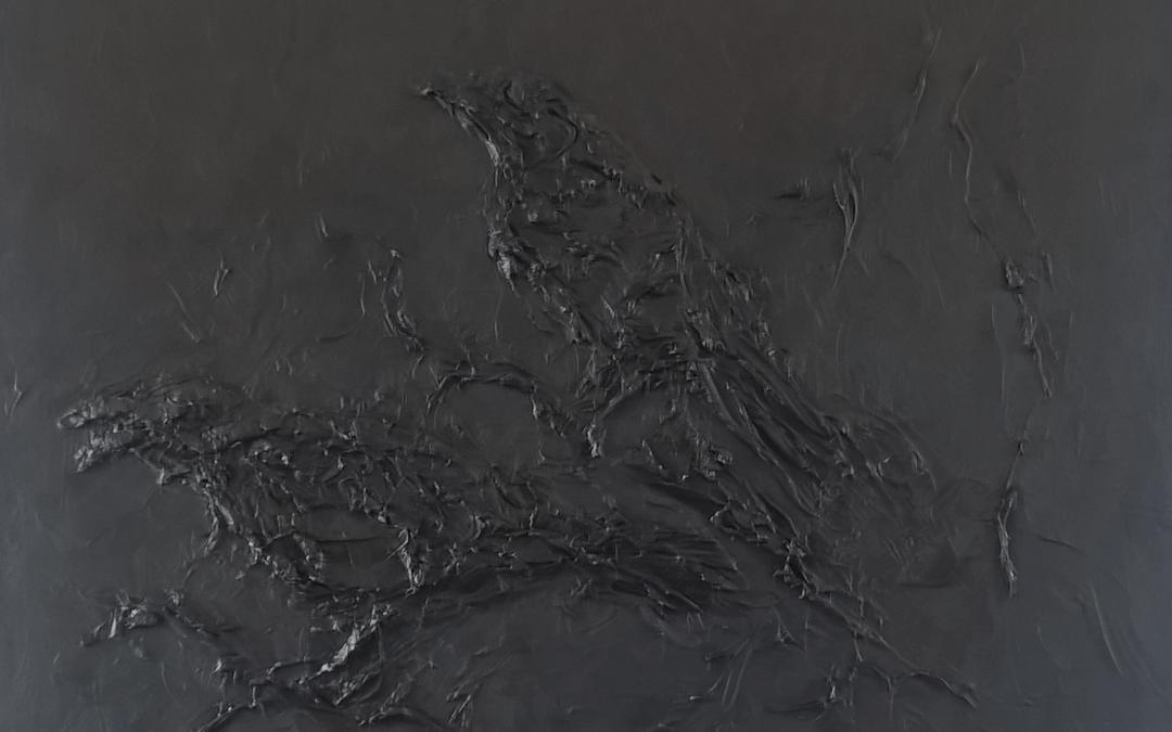 Gedicht van Rob Haster bij het schilderij black raven.
