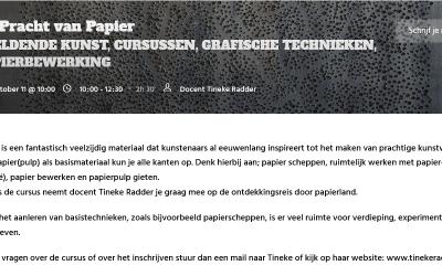 Cursus De pracht van papier bij Kade40 in Vlaardingen